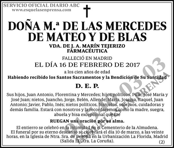 M.ª de las Mercedes de Mateo y de Blas